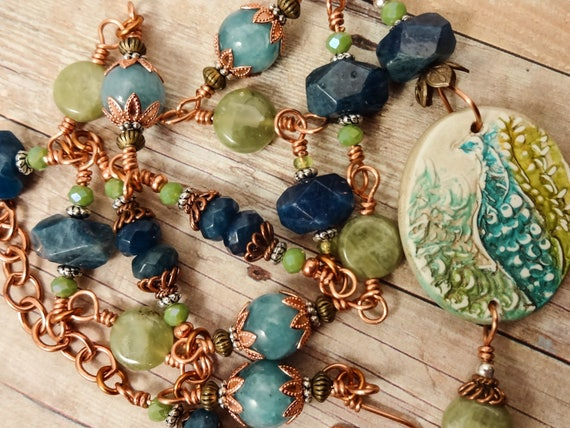 Peacock Necklace in Blue Apatite, Green Garnet, Angelite and Copper
