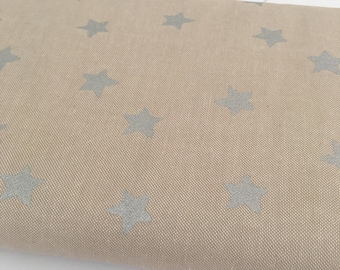 Natural based Large Silver Star Fabric - Rico Design