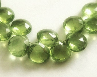 PERIDOT Heart Briolettes,  Faceted Brios, 2 MATCHED PAIRS,  August Birthstone, 4 pcs  Brides, Wholesale Beads,  6.5-7.5mm,