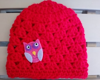 Baby Girl Hat, Newborn Hat, Baby Shower Gift, Crochet Baby Hat, Owl Hat, Red Hat, Photo Prop