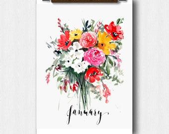 Floral Watercolor,January Month,Calendar art, bridal Shower,Pregnancy Announcement, Baby shower,Perpetual Month Calendar, Wedding keepsake