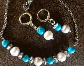 Fresh Water Pearl and Turquoise Necklace Choker