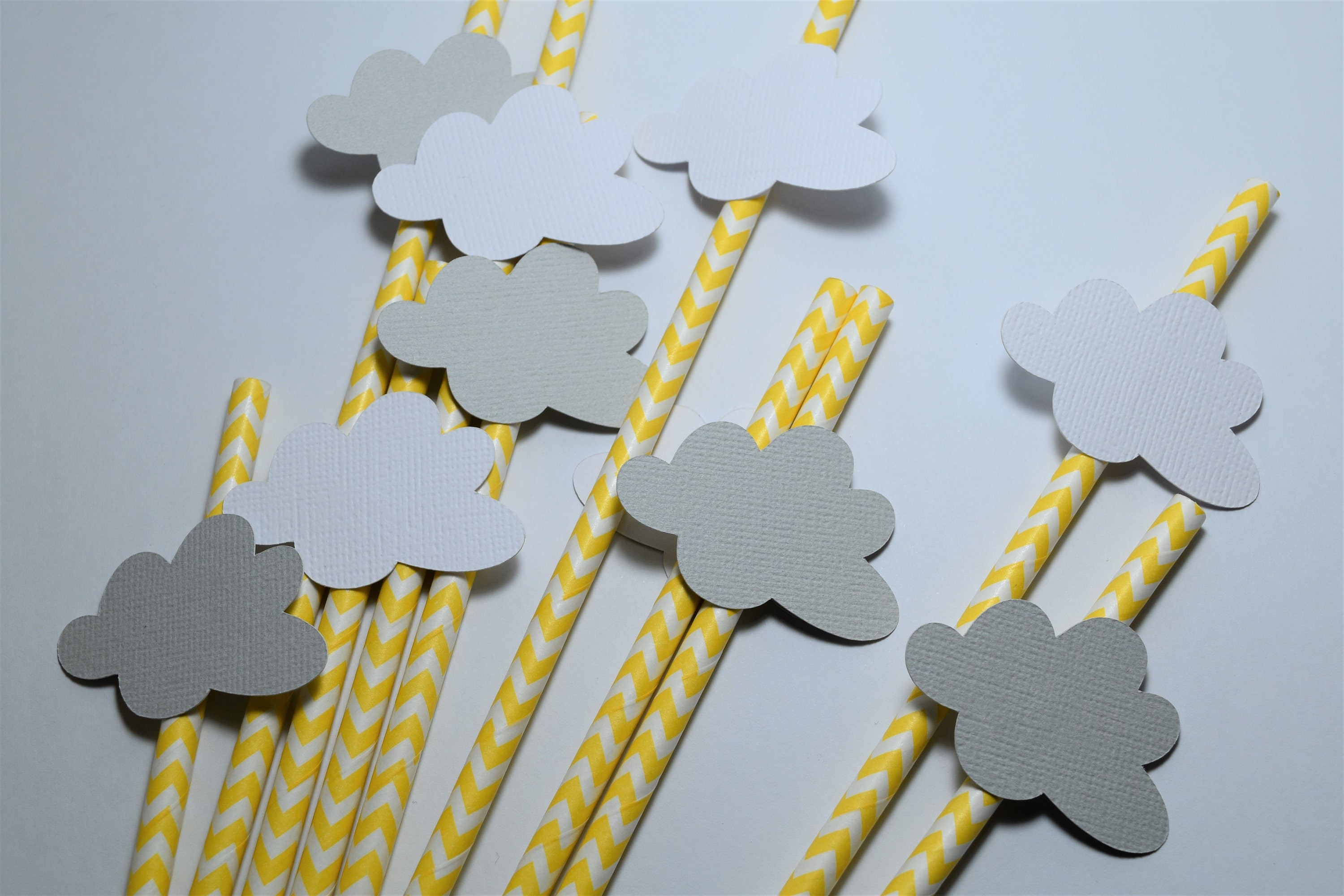 Yellow and Grey Cloud Straws Gender Neutral Party Decorations