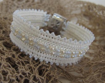 MEMENTO filigree Prayer Box bracelet. White Pearls with a touch of blue. Keep a prayer or a photo of a loved one in the box