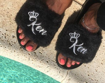 Customized/Personalized Faux Fur Slides