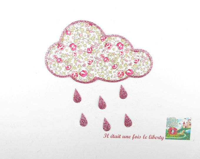 Applied fusing liberty cloud Eloise flex pink glittery patch liberty fusible iron-on applique patch