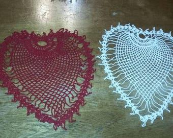 Heart crochet Doily Handmade
