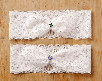 Green clover wedding garter, blue flower garter, lucky charm lace garter - style #474