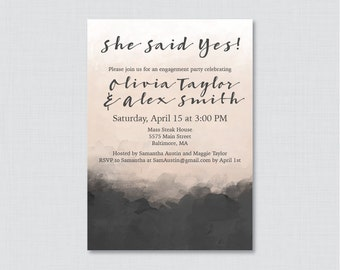 "Modern Engagement Party Invitation Printable or Printed - Black and Nude Engagement Party Invite ""She Said Yes"" Rustic, Charcoal Invite 0009"
