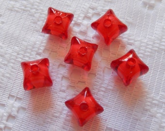 20  Bright Ruby Red Fluted Square Cube Acrylic Beads  10mm