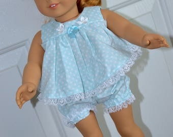 18 Inch Doll Clothes Two Piece Outfit Sleepwear Blue Polka Dot Shorty Pajamas by SEWSWEETDAISY