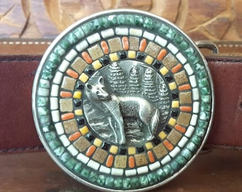 Mosaic Belt Buckle with Wolf