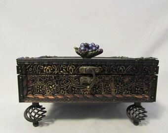 Jewelry Box, Treasure Box, Embossed Metal, Twisted Spiral Steel Feet, Felt Lined