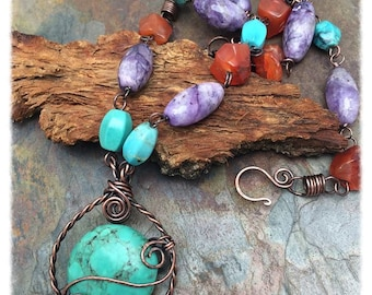 Turquoise, Carnelian, Charoite Gemstone Antiqued Copper Wire Wrapped Necklace, Christmas, Birthday, Anniversary