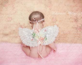 Baby Headband and baby Wings, Fairy Wings, Vintage Wings, Ivory Wings, Photo Prop, Angel Wings,Newborn Baby Girl Gift Set