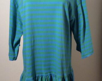 Vintage 1980s Marimekko Green and Blue Striped Dress with Drop Waist, 100% Cotton