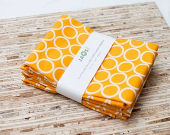 Large Cloth Napkins - Set of 4 - (N722) - Marigold Circles Modern Reusable Fabric Napkins