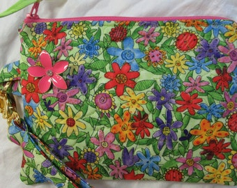 Quilted Wristlet - Contemporary Multi Color Floral Design