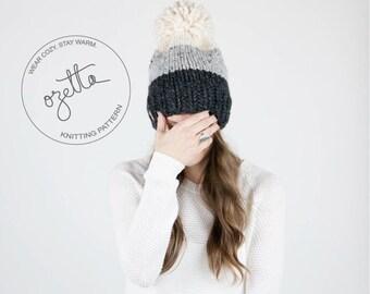 Knitting Pattern - Ombré Knit Hat With Pom Pom - The Breck Hat