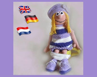 Crochet pattern Julia, Amigurumi doll crochet pattern, crocheted dolls pattern, amigurumi PDF pattern, Instant download