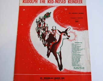 Vintage Sheet Music, Rudolf the Red Nosed Reindeer