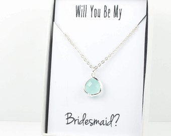 Mint Silver Necklace, Bridesmaid Mint Green Necklace, Green and Silver Necklace, Green Wedding Accessories, Mint Bridesmaid Jewelry