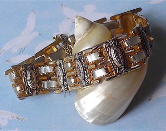 Bracelet, Toledo Damascene ware, vintage.  Articulated, Decorative pieces with 2 layer faux pearl pieces between, c1960s-80s