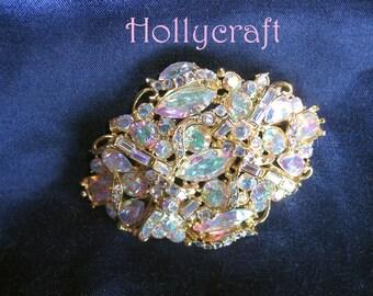 Hollycraft Corp 1957 Aurora Borealis Brooch Pinks Blues Purples Stunning
