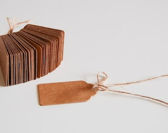 Labels hang tags price tags 3x5cm 50 X Brown