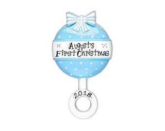 Blue Baby Rattle Personalized Christmas Ornament / Baby's 1st / Baby's First / Baby Boy / Hand Personalized