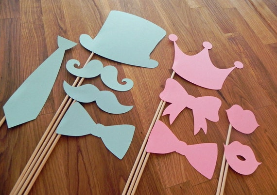 Italian Boy Name: Photo Props: Gender Reveal Party Set 10 Pieces Baby Shower
