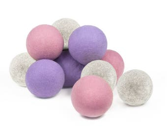 Baby-Safe Natural Wool Dryer Balls - 12 Balls, Pink, Lavender, Gray, 100% Wool, Natural Vegetable-Based Dyes, Chemical-Free