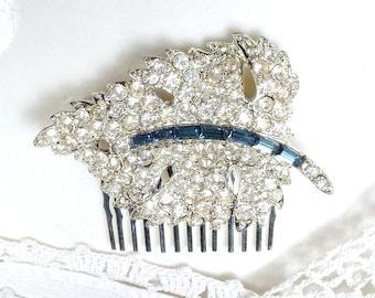 Vintage Wedding Bridal Sapphire Hair Comb,Art Deco Navy Pave Rhinestone Leaf HairPiece,Something Blue Old Crystal Clip Silver Blue Headpiece