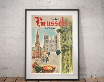 brussels, brussels travel  poster, wall decor, vintage