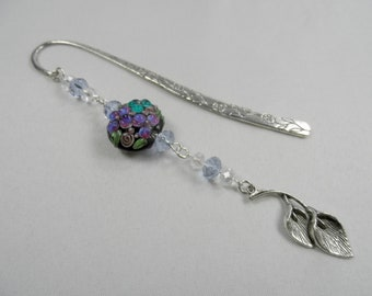 Floral Motif Charm Shepherd's Hook Bookmark with Lampwork and Faceted Crystals - Silvertone