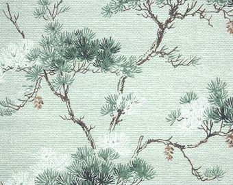 1940s Vintage Wallpaper by the Yard - Pine Cones and Branches on Green