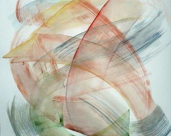 "Interlocking Colors. Original abstract painting, large watercolor. 27.5""x29.5"" Transparent Gestures. Fine art Living room decor"