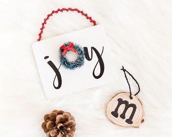 Joy Wreath Wooden Ornament