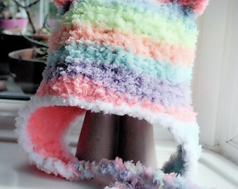 3 to 6m Rainbow Bear Hat Baby Earflap Beanie  Crochet Earflap Hat Baby Bear Hat Infant Baby Hat Photo Prop