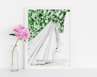 The Royal Dress (Fashion Illustration Print) ( Art - Fashion Sketch prints - Home Decor - Wall Decor- The Royal Wedding- Meghan Markle )