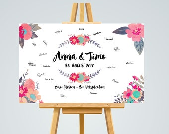 Guestbook POSTER personalized wedding #flowers in A3
