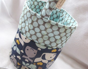 Creative Kids Art Bucket - Whale Tale & Dots - Fabric Basket Organizer - MADE TO ORDER