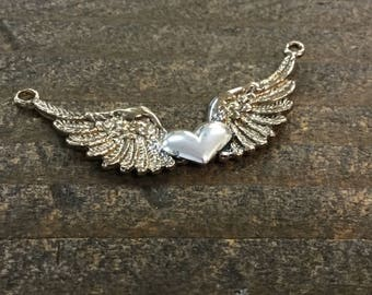 Flying Heart Large Wings Link with Gold Filled Heart Sterling Silver