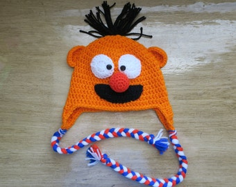 Crochet Kids Hat ernie sesame street elmo photo prop birthday gift small adult size