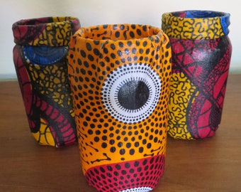 African Fabric Wrapped Mason Jar Vase Your Choice Of Color