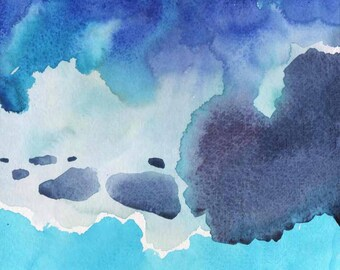 ORIGINAL ABSTRACT WATERCOLOR 8X8  blue sky, blue painting, small original watercolor painting, blue abstract painting, blue abstract