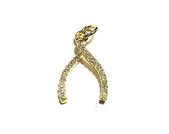 Wishbone cz charm, available in four colors