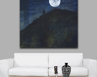 Moon & tree landscape Extra Large dark navy blue, indigo, midnight, black, white night print of acrylic painting: Hawaii artist Donia Lilly