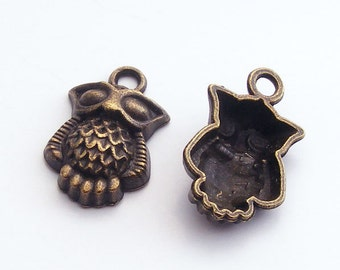 Antique Brass Owl Charm 20x13mm (6 pcs) Z-N1264-AB