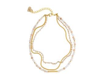The Reece Gemstone Rosary Choker - Peach